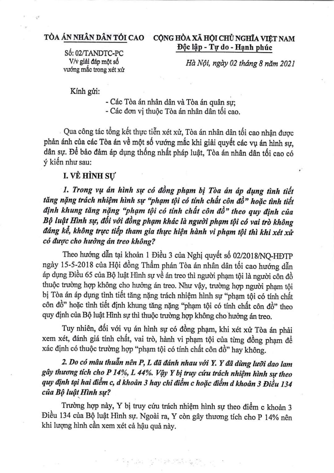 Công văn số 02/tandtc-pc về việc giải đáp một số vướng mắt trong hoạt động xét xử ngày 02/8/2021